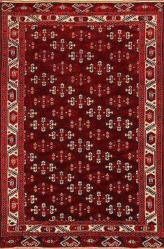 Afghan Yamouth Red Rectangle 7x10 ft Wool Carpet 20733