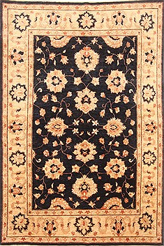 Pakistani Pishavar Black Rectangle 5x8 ft Wool Carpet 20735