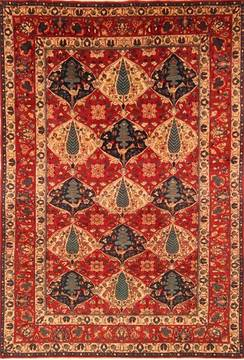 "Bakhtiar Red Hand Knotted 6'5"" X 9'6""  Area Rug 100-20744"