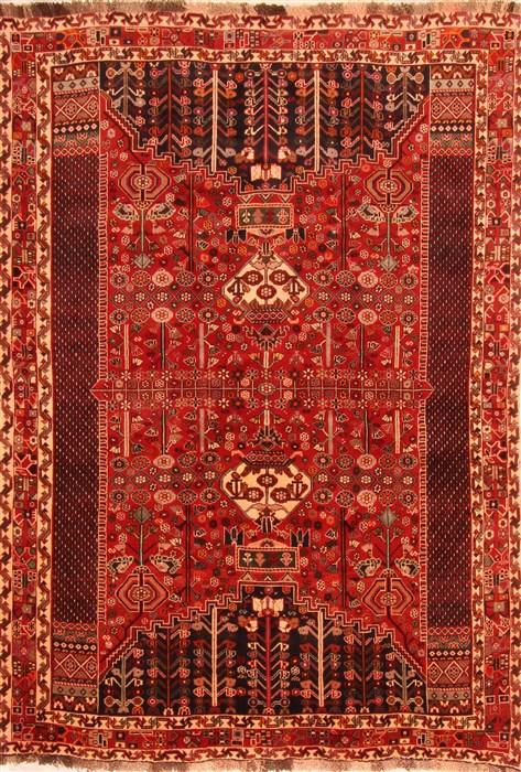 Persian Ghashghaei Red Rectangle 6x9 Ft Silk Carpet 20761 Area Rug
