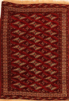 Afghan Yamouth Red Rectangle 6x9 ft Wool Carpet 20765