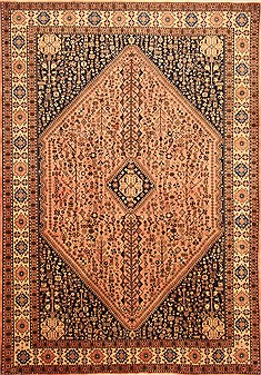 Persian Abadeh Beige Rectangle 7x10 ft Wool Carpet 20769