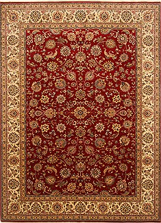 Indian Isfahan Red Rectangle 8x11 ft Wool Carpet 20781