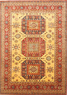 Pakistani Kazak Yellow Rectangle 8x11 ft wool and raised silk Carpet 20793