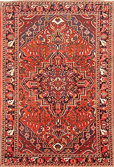 "Bakhtiar Red Hand Knotted 7'0"" X 10'2""  Area Rug 100-20806"