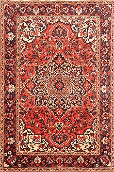 Persian Bakhtiar Red Rectangle 7x10 ft Wool Carpet 20821