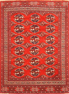"Turkman Red Hand Knotted 7'0"" X 10'5""  Area Rug 100-20823"