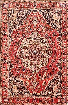 Persian Bakhtiar Red Rectangle 7x10 ft Wool Carpet 20830