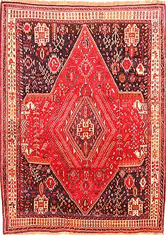 "Qashqai Red Hand Knotted 6'10"" X 9'6""  Area Rug 100-20832"