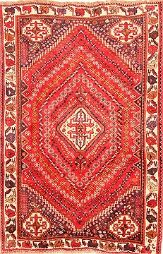 "Qashqai Red Hand Knotted 5'5"" X 8'3""  Area Rug 100-20850"