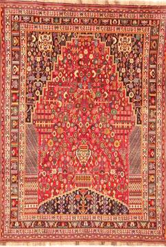 "Qashqai Red Hand Knotted 6'8"" X 9'4""  Area Rug 100-20851"
