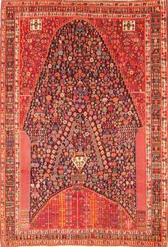 "Qashqai Red Hand Knotted 6'9"" X 9'10""  Area Rug 100-20865"