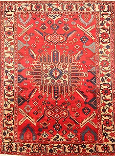 Persian Bakhtiar Red Rectangle 7x10 ft Wool Carpet 20879