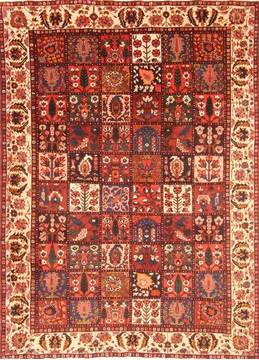 "Bakhtiar Red Hand Knotted 7'3"" X 9'11""  Area Rug 100-20880"