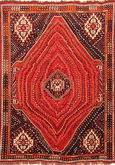 "Qashqai Red Hand Knotted 7'3"" X 9'11""  Area Rug 100-20882"