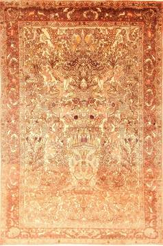 Persian Bakhtiar Beige Rectangle 7x10 ft Wool Carpet 20894