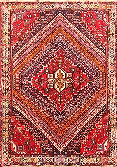 "Qashqai Red Hand Knotted 6'10"" X 9'9""  Area Rug 100-20895"