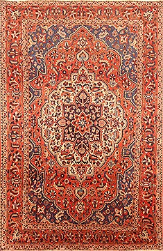 Persian Bakhtiar Red Rectangle 7x10 ft Wool Carpet 20896