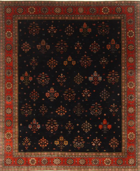 Area Rugs From India: Indian Gabbeh Blue Rectangle 8x10 Ft Wool Carpet 20920