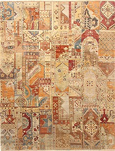 "Patchwork Multicolor Hand Knotted 8'2"" X 10'4""  Area Rug 250-20949"