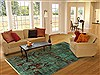 Patchwork Green Hand Knotted 80 X 102  Area Rug 250-20994 Thumb 2