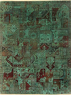 "Patchwork Green Hand Knotted 8'0"" X 10'2""  Area Rug 250-20994"