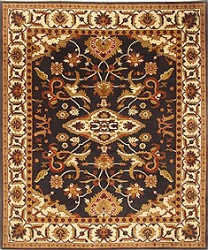 "Sumak Black Hand Knotted 7'11"" X 9'9""  Area Rug 250-21004"