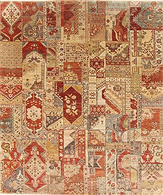 "Patchwork Multicolor Hand Knotted 8'1"" X 9'8""  Area Rug 250-21065"