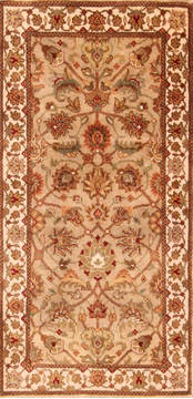 "Kashan Brown Hand Knotted 2'0"" X 4'0""  Area Rug 100-21138"