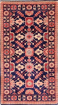 "Kazak Blue Hand Knotted 2'6"" X 4'4""  Area Rug 100-21162"