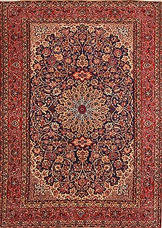 Persian Isfahan Blue Rectangle 8x11 ft Wool Carpet 21187