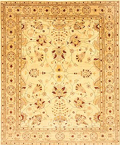 Pakistani Pishavar Beige Rectangle 8x10 ft Wool Carpet 21190