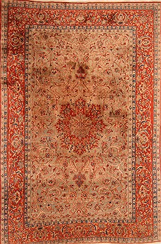 "Isfahan Beige Hand Knotted 8'1"" X 12'2""  Area Rug 100-21200"