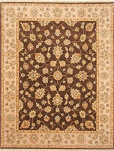 Indian Agra Brown Rectangle 8x10 ft Wool Carpet 21210