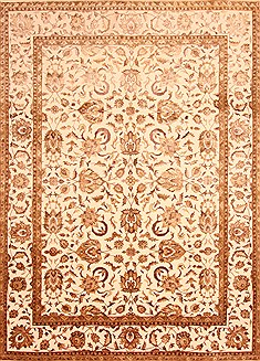 "Kashan Beige Hand Knotted 8'9"" X 12'1""  Area Rug 100-21214"
