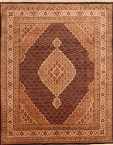 "Tabriz Brown Hand Knotted 8'0"" X 10'0""  Area Rug 100-21248"