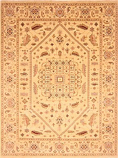 Indian Chobi Beige Rectangle 9x12 ft Wool Carpet 21256