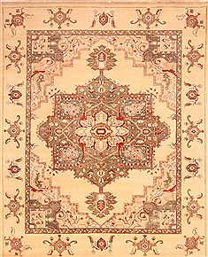 Indian Heriz Beige Rectangle 8x10 ft Wool Carpet 21268