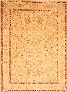 "Agra Yellow Hand Knotted 9'1"" X 12'5""  Area Rug 100-21272"