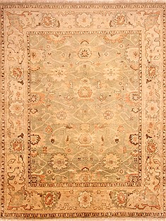 Indian Oushak Green Rectangle 9x12 ft Wool Carpet 21274
