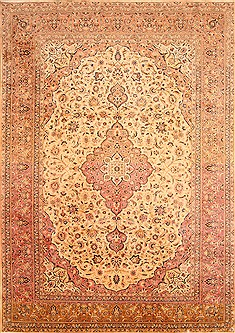 "Kashan Beige Hand Knotted 8'8"" X 12'6""  Area Rug 100-21336"