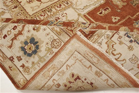 Indian Serapi Brown Rectangle 10x14 Ft Wool Carpet 21344