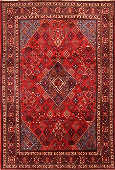 "Persian Maymeh  Wool Red Area Rug  (8'6"" x 12'5"") - 253 - 21347"