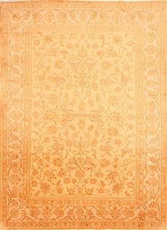 "Kashan Yellow Hand Knotted 8'3"" X 11'4""  Area Rug 100-21366"