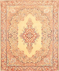 "Kerman Beige Hand Knotted 8'4"" X 10'1""  Area Rug 100-21367"