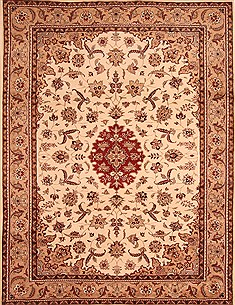 Pakistani Kashan Beige Rectangle 8x10 ft Wool Carpet 21386