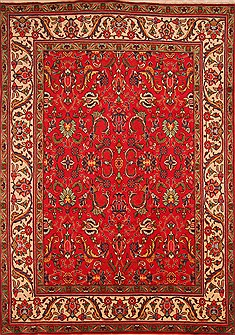 "Tabriz Red Hand Knotted 8'2"" X 11'7""  Area Rug 100-21387"