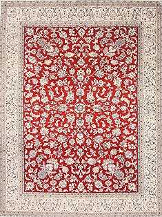 Persian Nain Red Rectangle 10x13 ft Wool Carpet 21391