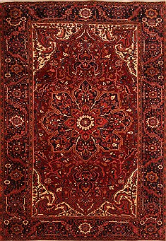 Persian Heriz Red Rectangle 8x11 ft Wool Carpet 21397