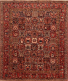 Persian Bakhtiar Red Rectangle 8x11 ft Wool Carpet 21398